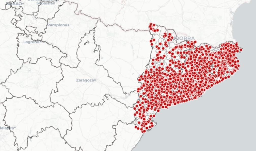 Los puntos rojos son los colegios electorales del 14-F en Cataluña | Generalitat de Catalunya