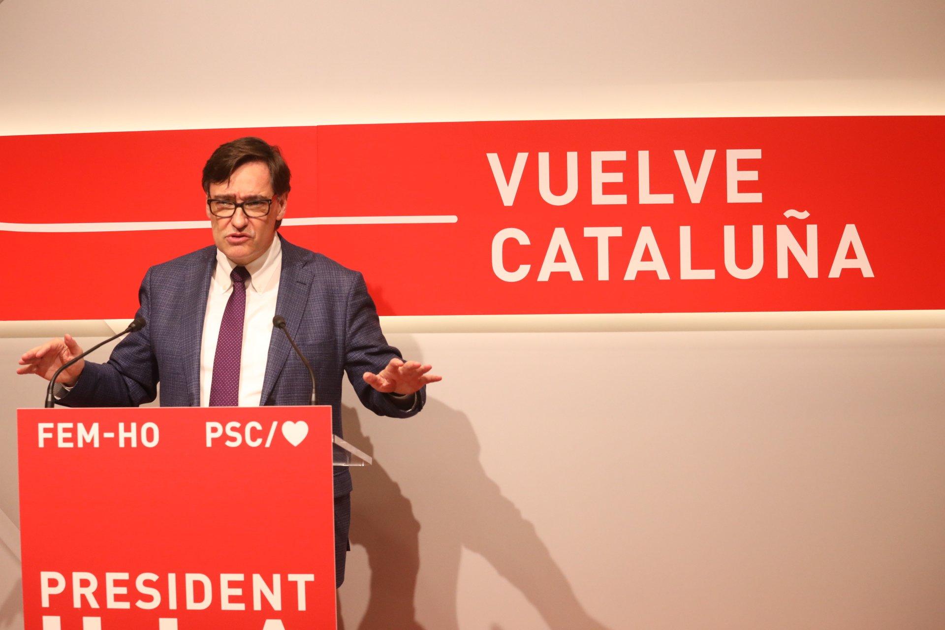 Salvador Illa en rueda de prensa. Fuente: PSC