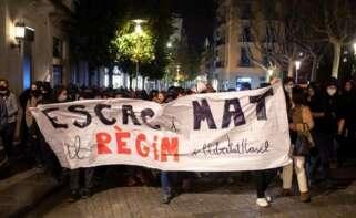 Pancarta en una manifestación en Girona por la libertad de Pablo Hasel. EFE/ Toni Vilches/Archivo