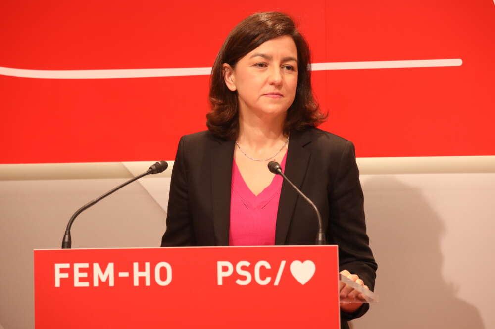 La vicesecretaria primera del PSC, Eva Granados, en rueda de prensa / PSC