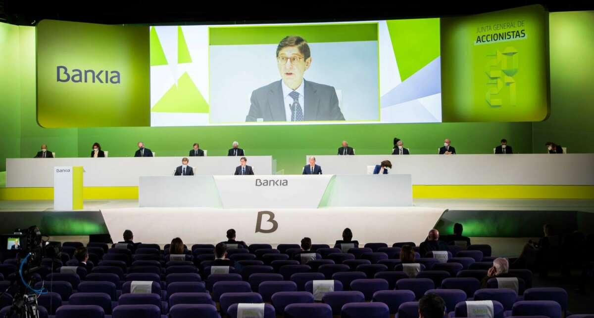 José Ignacio Goirigolzarri en la última junta de accionistas de Bankia en solitario