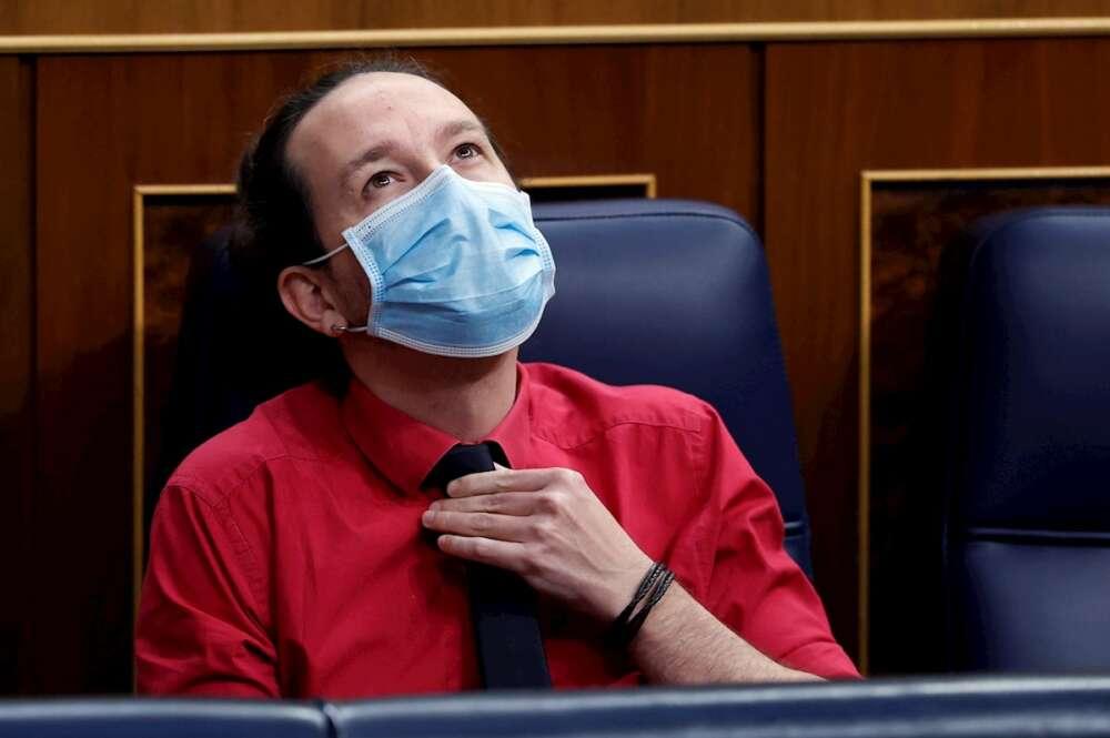 Pablo Iglesias, durante una nueva sesión de control al Gobierno, este miércoles, en el Congreso de los Diputados. EFE/Mariscal