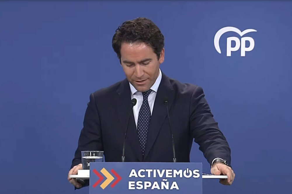 El secretario general del PP, Teodoro García Egea, en la rueda de prensa tras la crisis política abierta en Murcia y Madrid