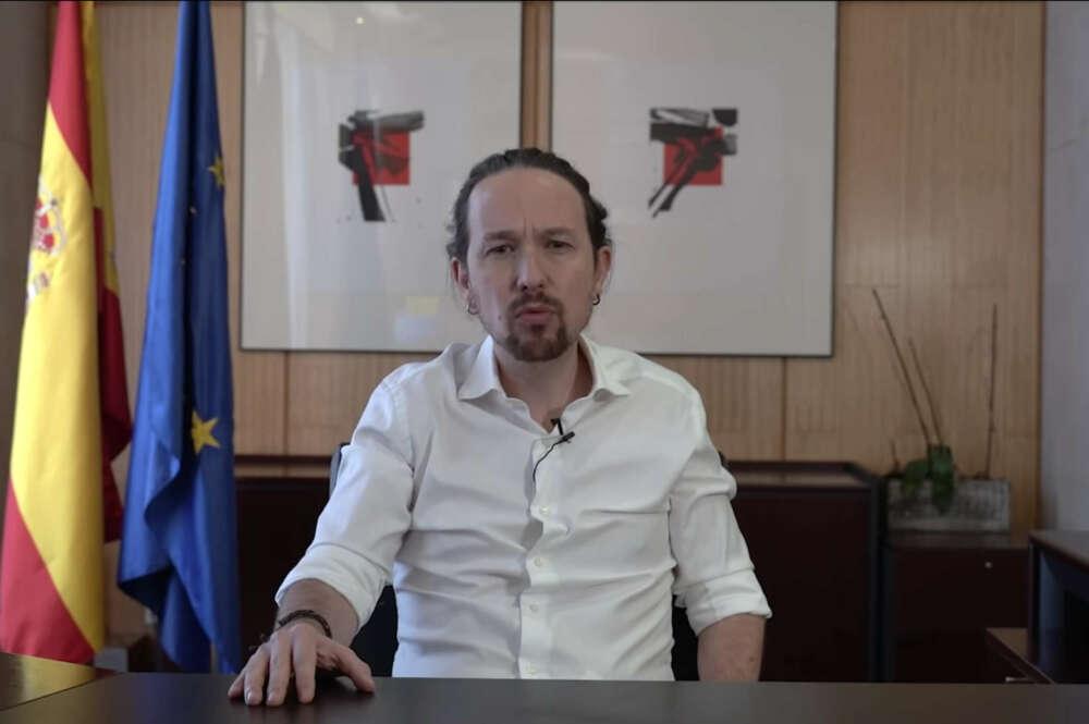 Pablo Iglesias, mientras anunciaba su candidatura a la presidencia de la Comunidad de Madrid / Podemos