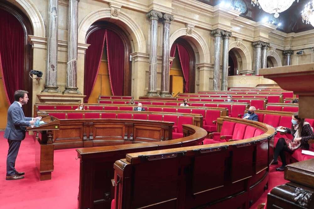 Pere Aragonès en una sesión de la Diputación Permanente del Parlament, en febrero de 2021   Parlament de Catalunya/Archivo