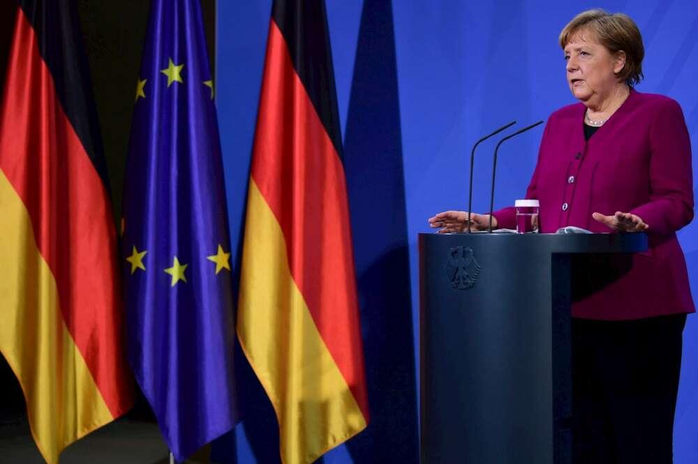 La canciller alemana Angela Merkel en una rueda de prensa, el 25 de marzo de 2021 en Berlín | EFE/EPA/CB