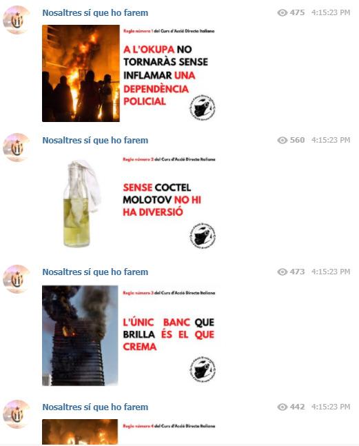 Algunos mensajes de los radicales de Cataluña sobre la formación supuestamente obtenida de parte de anarquistas italianos | Telegram