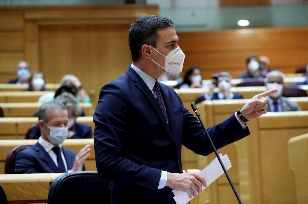 El presidente del Gobierno, Pedro Sánchez, durante la sesión de control al Gobierno en el pleno del Senado, el 13 de abril de 2021 | EFE/KH