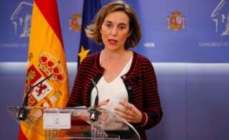 La portavoz del PP, Cuca Gamarra, comparece en rueda de prensa después de la reunión de la Junta de Portavoces del Congreso este martes en Madrid. EFE/Juan Carlos Hidalgo