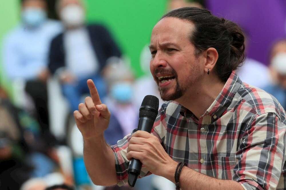El candidato a la presidencia a la Comunidad de Madrid por Unidas Podemos, Pablo Iglesias durante un acto electoral del partido en el Parque de Olof Palme en Madrid este viernes. EFE/Fernando Alvarado