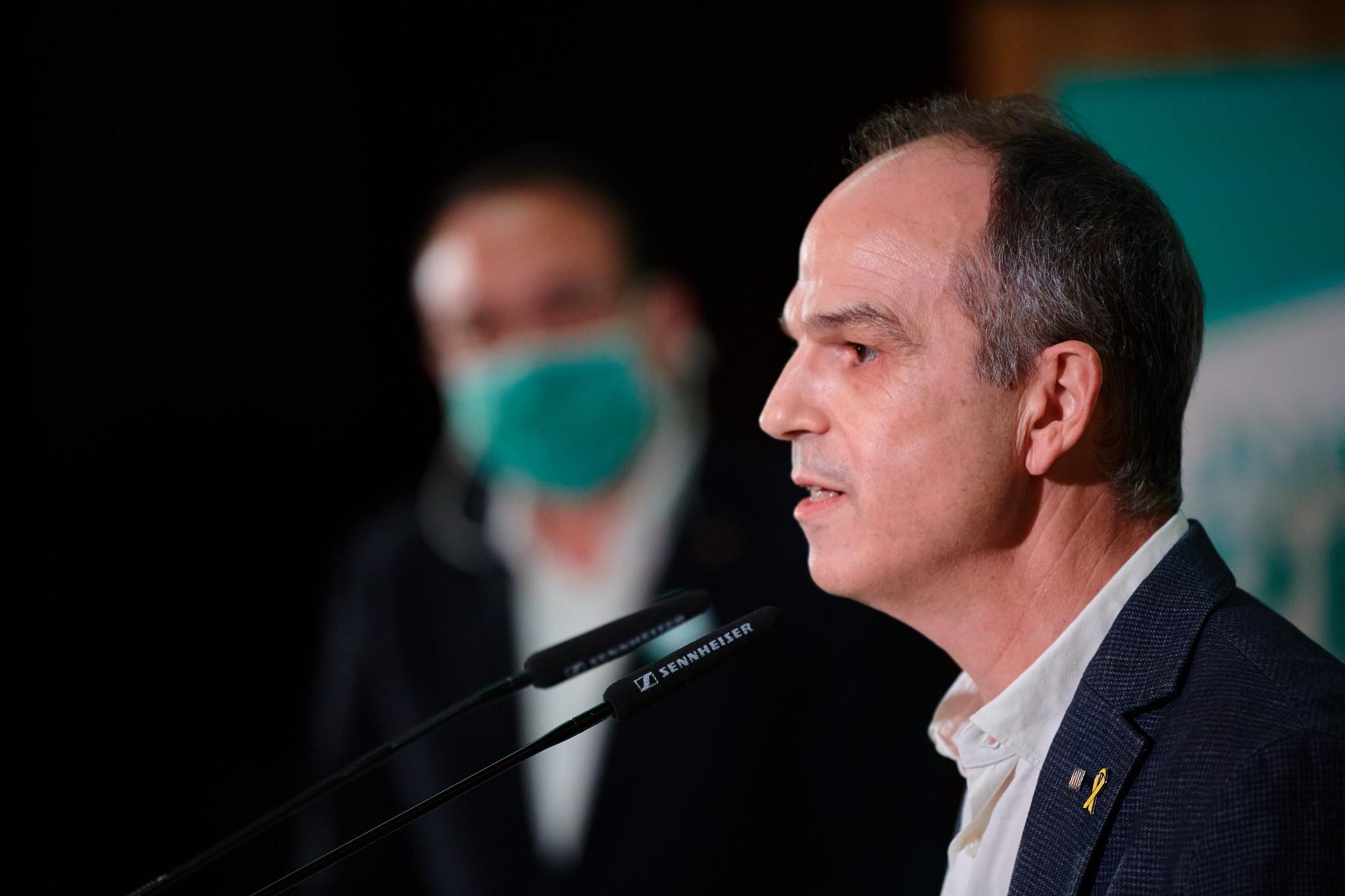 El exconseller de Presidencia condenado por sedición, Jordi Turull, en un acto de Junts per Catalunya / Julio Díaz