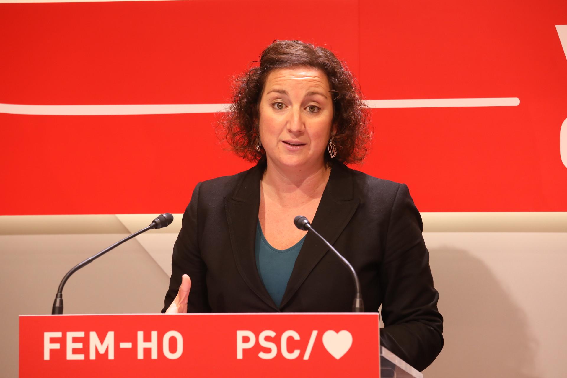 La portavoz del PSC, Alicia Romero, en una rueda de prensa en la sede del PSC / PSC