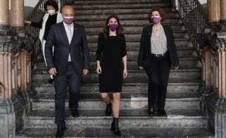 La ministra de Igualdad, Irene Montero (centro), en un acto en Córdoba junto al presidente de la Diputación, Antonio Ruiz, y la vicepresidanta tercera de la Diputación, Alba Doblas, el 18 de marzo de 2021 | EFE/RA/Archivo