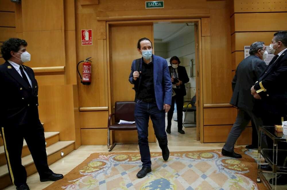 Pablo Iglesias a su llegada a su última sesión de control al Gobierno en el Senado como vicepresidente segundo, el 23 de marzo de 2021   EFE/JCH/Archivo