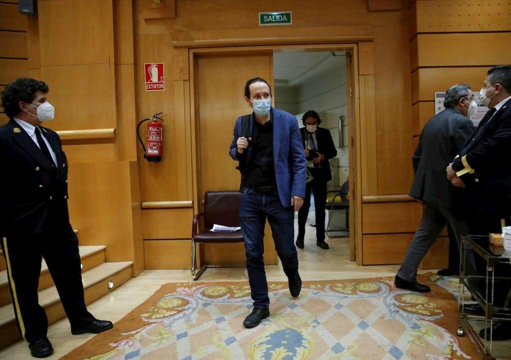 Pablo Iglesias a su llegada a su última sesión de control al Gobierno en el Senado como vicepresidente segundo, el 23 de marzo de 2021 | EFE/JCH/Archivo
