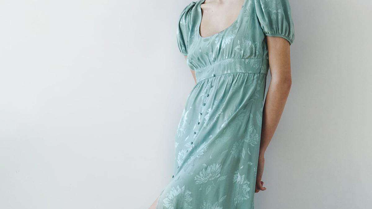 Vestido Jacquard Flores de Zara