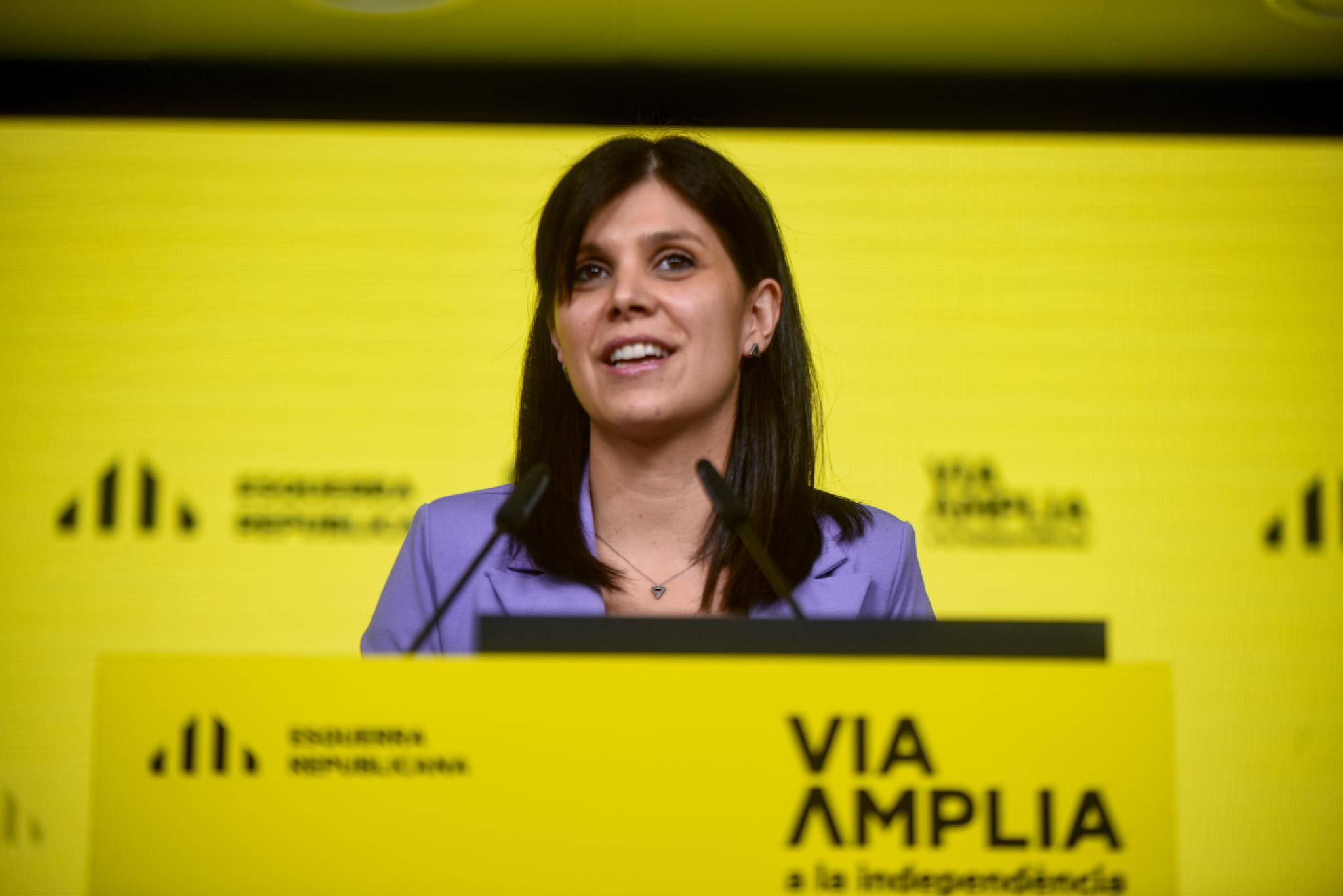 La portavoz de ERC, Marta Vilalta, en una rueda de prensa / Marc Puig (ERC)