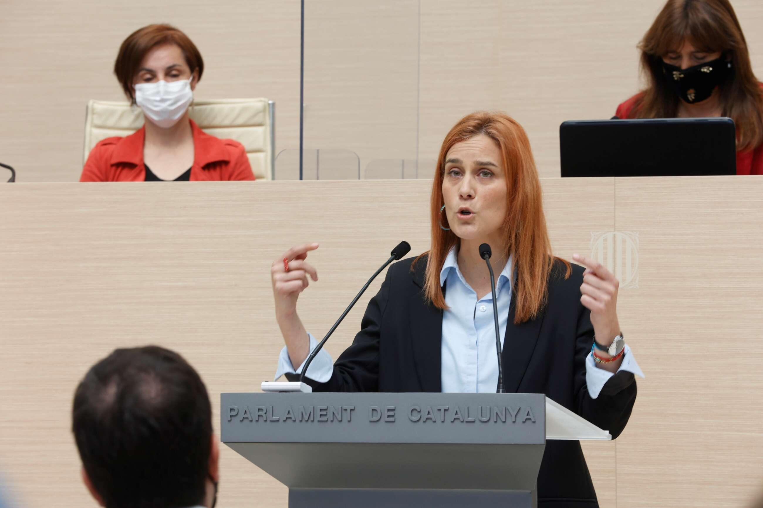 La líder de En Comú-Pôdem, Jessica Albiach, durante su intervención en la segunda sesión del debate de investidura del candidato de ERC a la presidencia de la Generalitat, Pere Aragonès / EFE