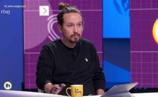 El líder de Podemos y candidato a la Comunidad de Madrid, Pablo Iglesias, en una entrevista en 'La hora de La 1' de TVE, el 9 de abril de 2021 | RTVE/Archivo
