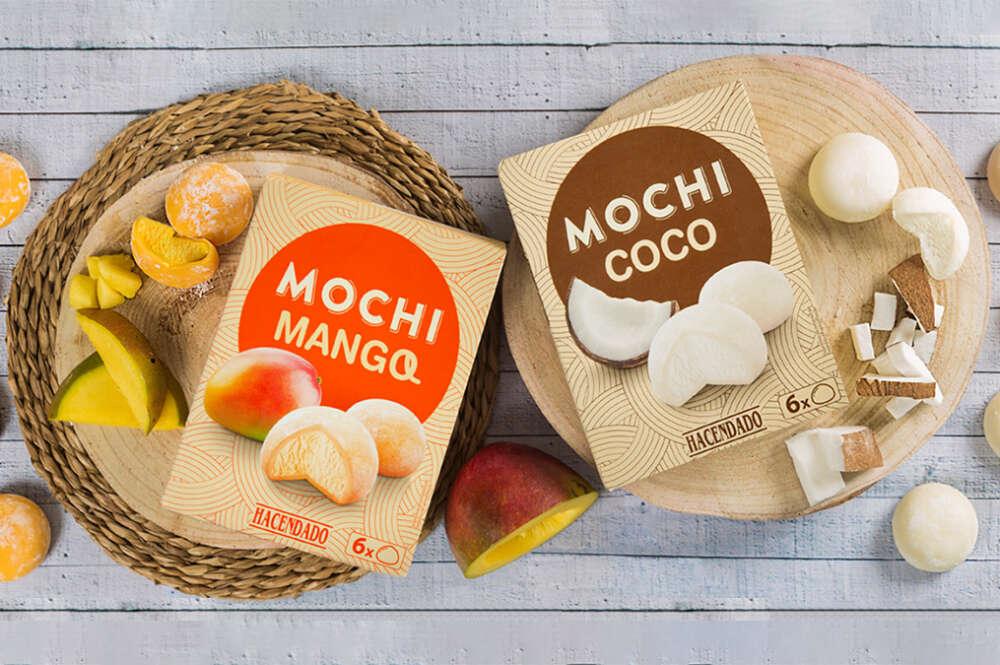 Mochis helados de mango y coco de Hacendado, en Mercadona