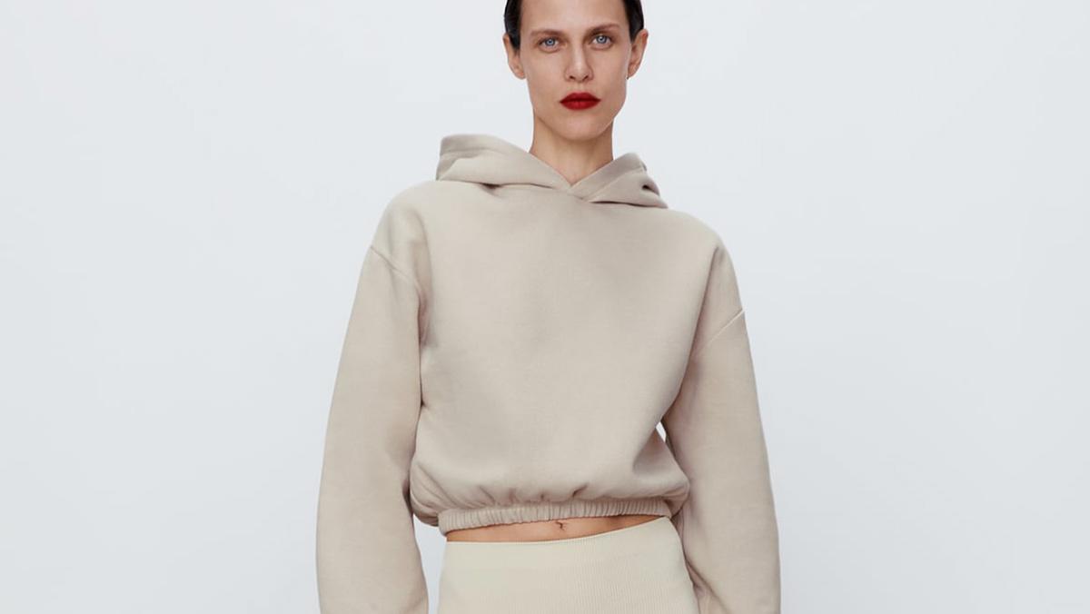 Sudadera Cropped beige de Zara