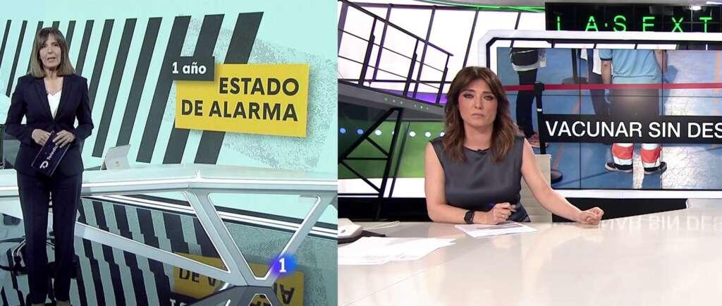 Ana Blanco y Helena Resano, presentadoras de los informativos del mediodía de La 1 de TVE y La Sexta, respectivamente | RTVE/Atresmedia