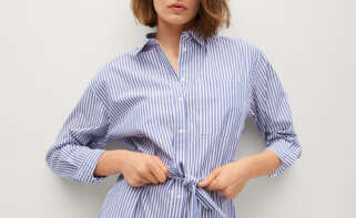 Vestido camisero de algodón de Mango