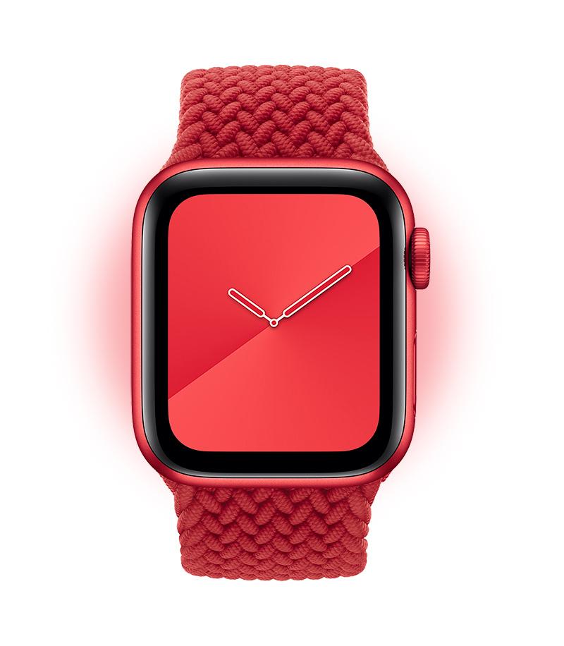 El Apple Watch Series 6 (PRODUCT)RED con una correa opcional