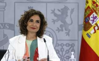 La ministra de Hacienda y portavoz del Gobierno, María Jesús Montero durante la rueda de prensa ofrecida tras la reunión del Consejo de Ministros, este martes en el Palacio de la Moncloa. EFE/ Ballesteros