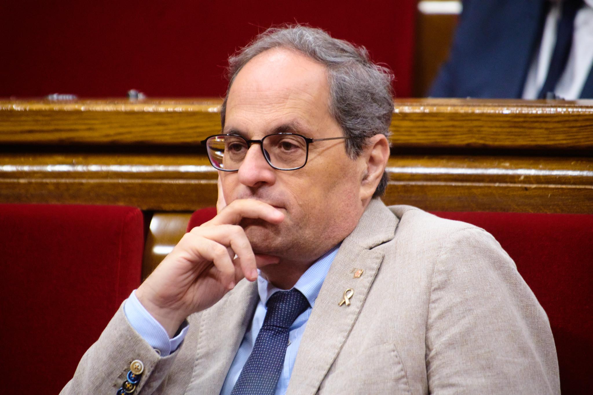 El expresidente de la Generalitat, Quim Torra, durante una sesión de control al Govern en la pasada legislatura / Julio Díaz