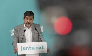 El secretario de Junts, Jordi Sànchez, en la rueda de prensa que da inicio al Congreso del partido previsto para el 7 y 8 de mayo / Julio Díaz