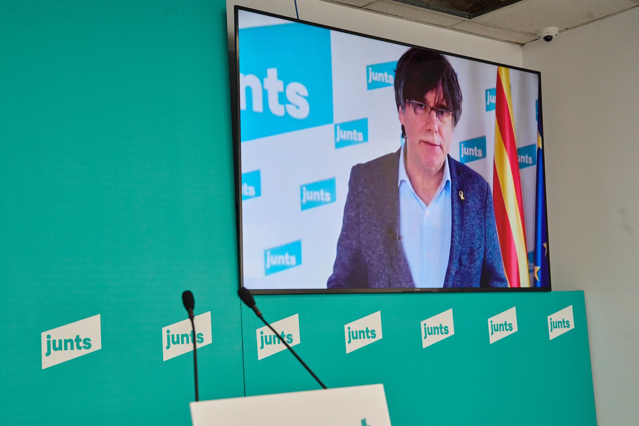 El expresidente y líder de Junts, Carles Puigdemont, en una comparecencia telemática / Julio Díaz (JxCat)