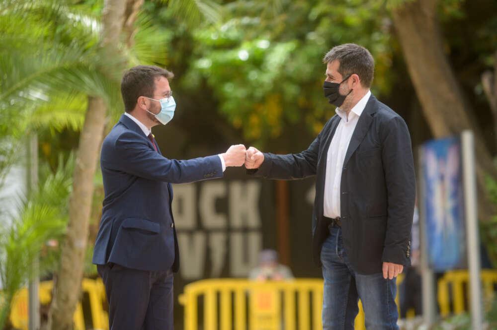 Pere Aragonès y Jordi Sànchez, momentos antes de anunciar el pacto de legislatura que evita las elecciones / Marc Puig (Esquerra Republicana)