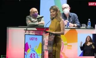 La vicepresidenta tercera y ministra de Trabajo, Yolanda Díaz, interviene en el 43 Congreso Confederal de UGT