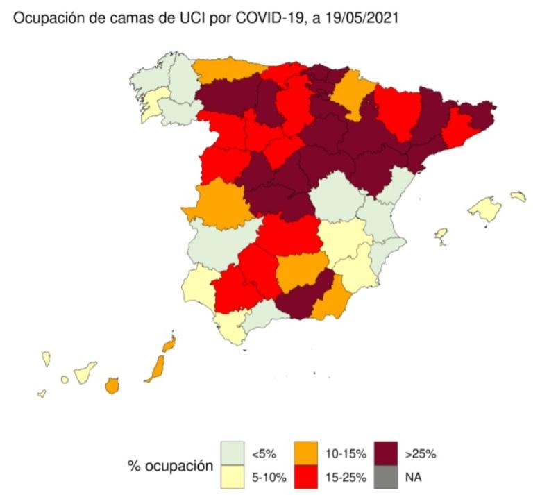 Mapa de la ocupación de las camas UCI por provincias hasta el 19 de mayo./ Ministerio de Sanidad