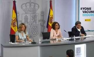 Rueda de prensa tras el Consejo de Ministros extraordinario con María Jesús Montero, Yolanda Díaz y José Luis Escrivá