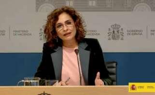 La ministra de Hacienda, María Jesús Montero, en la rueda de prensa para presentar los componentes de su departamento del Plan de Recuperación.