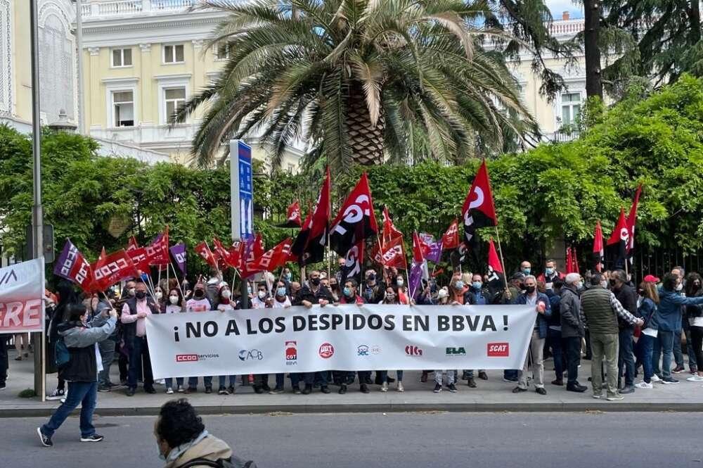 Movilizaciones en BBVA. Fuente: CCOO