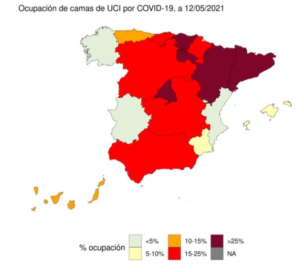 Ocupación camas de UCI por covid el 15 de mayo de 2021./ Ministerio de Sanidad