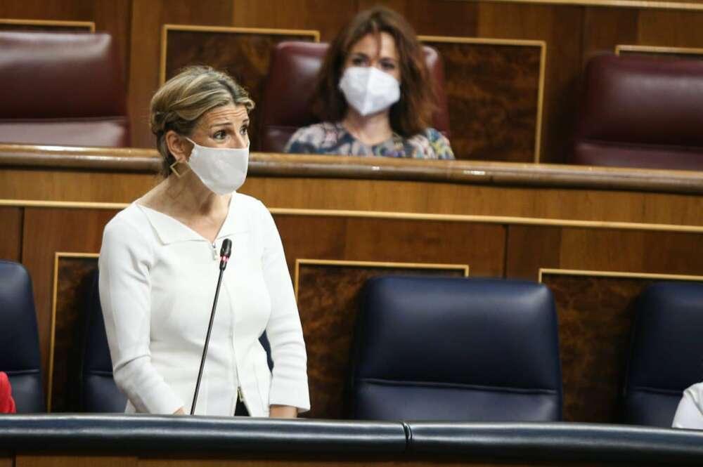 La vicepresidenta tercera, Yolanda Díaz, en la sesión de control al Gobierno. Congreso.