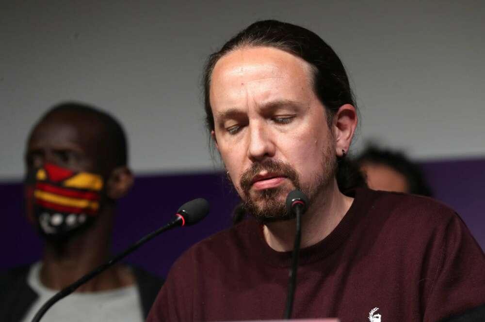 El líder de Unidas Podemos y candidato a la presidencia de la Comunidad de Madrid, Pablo Iglesias, comparece ante los medios hoy martes en la sede del partido, en Madrid, tras conocer los resultados de las elecciones autonómicas. EFE/Kiko Huesca