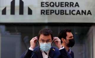 El vicepresidente con funciones de presidente, Pere Aragonès, tras anunciar la ruptura de negociaciones con Junts y la exploración de un Govern en solitario / EFE