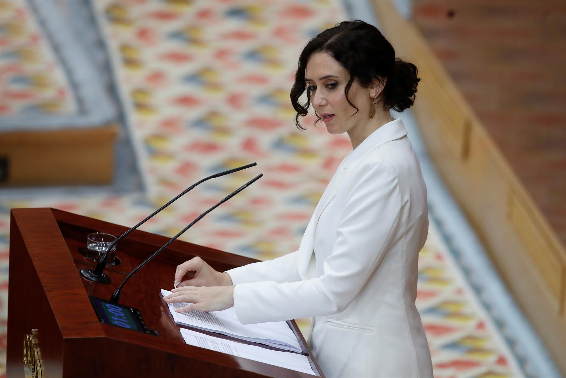 Isabel Díaz Ayuso anuncia un gobierno sin vicepresidencias y 9 consejerías en el debate de investidura. EFE