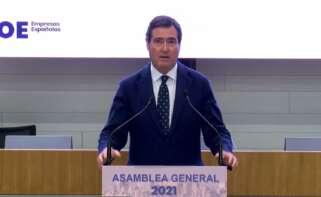 El presidente de CEOE, Antonio Garamendi, en la Asamblea Anual 2021