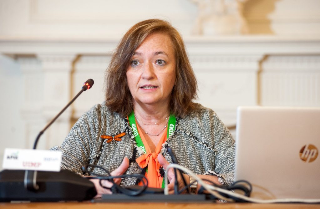 La presidenta de la AIREF, Cristina Herrero, en los Cursos de Verano de la UIMP. / APIE