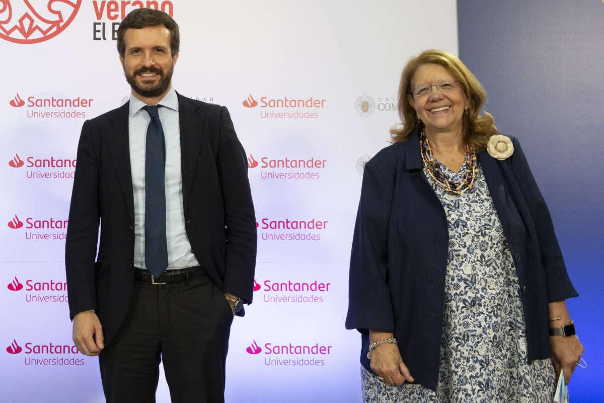 El presidente del PP, Pablo Casado, y la vicesecretaria sectorial, Elvira Rodríguez.
