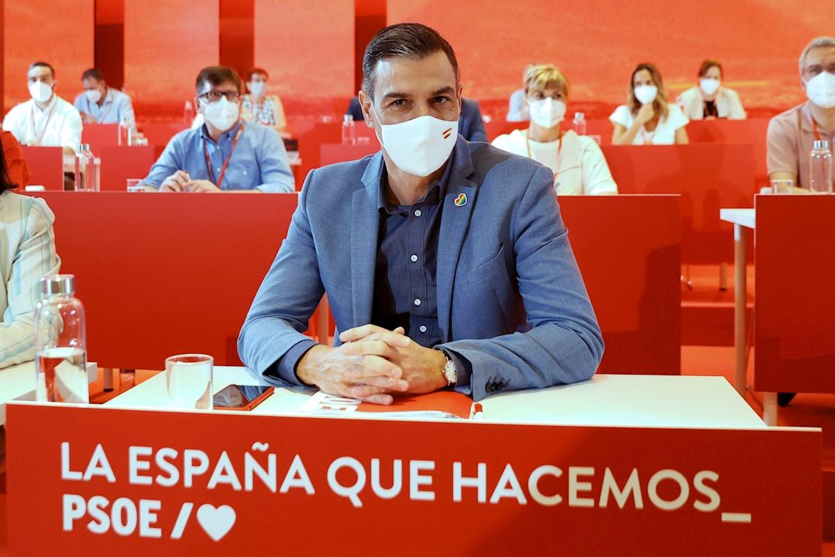 El secretario general del PSOE y presidente del Gobierno, Pedro Sánchez, durante la reunión del último Comité Federal del partido. EFE/Chema Moya