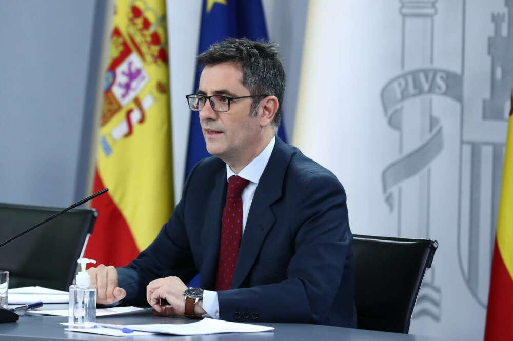 Félix Bolaños ha confirmado la exhumación de Primo de Rivera. // Foto: Pool Moncloa