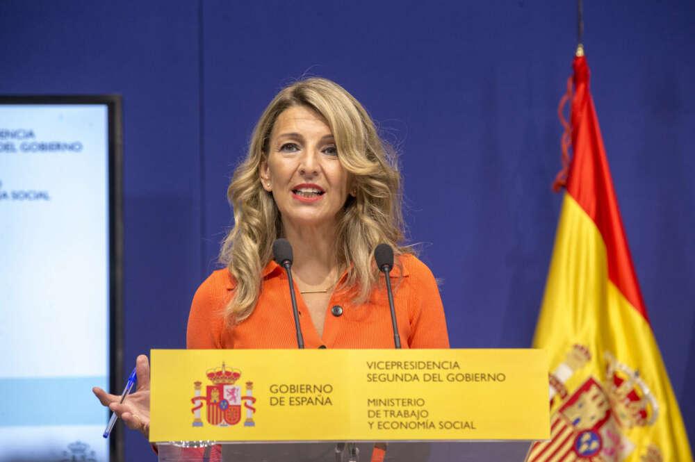 La vicepresidenta segunda del Gobierno, Yolanda Díaz, presenta un plan de Inspección para prevenir el riesgo de los golpes de calor.