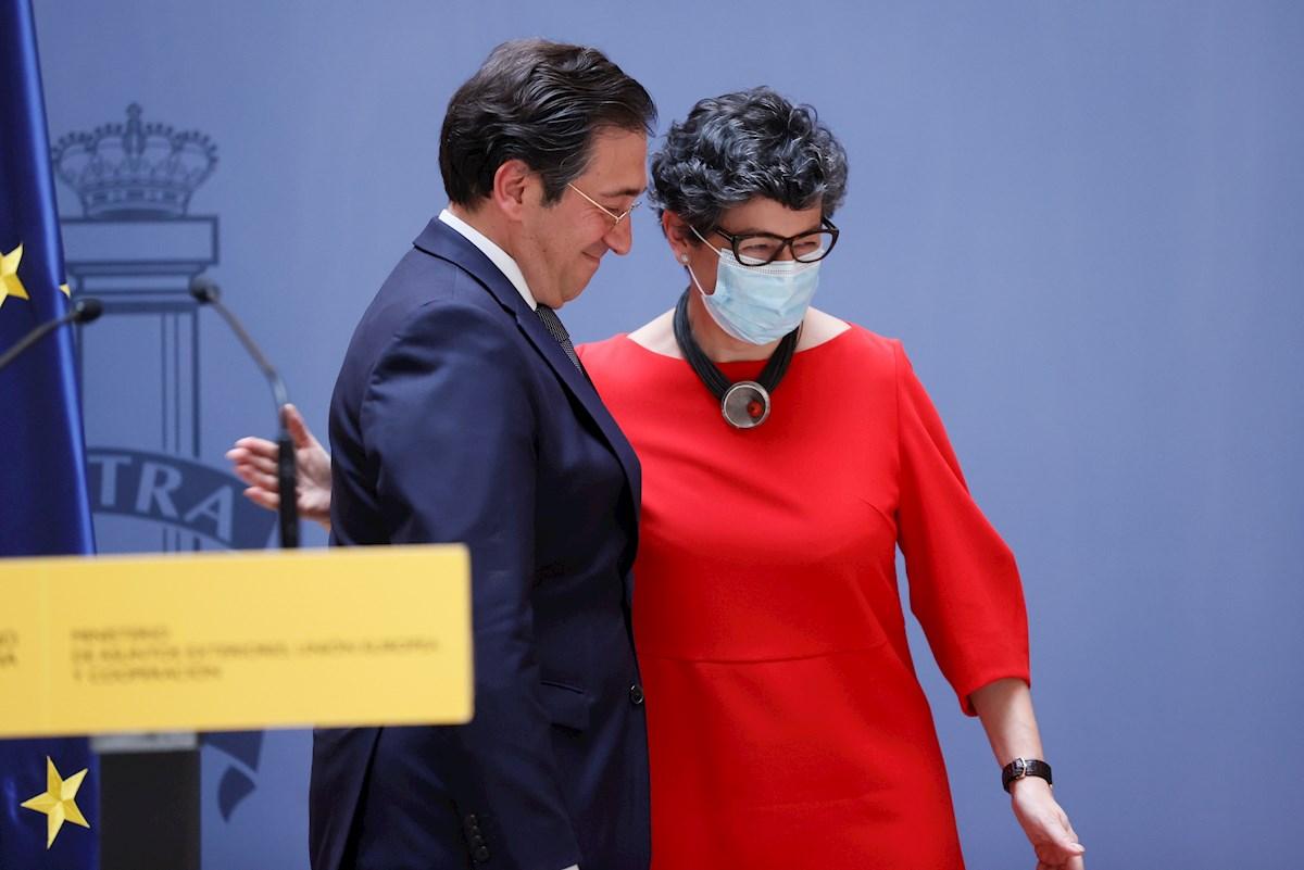 El ministro de Asuntos Exteriores, Unión Europea y Cooperación, José Manuel Albares, tras la salida de Arancha González Laya. EFE/ Ballesteros
